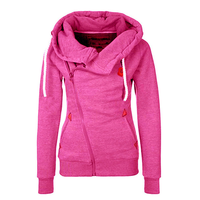 Autumn Winter Women Zipper Casual Solid Hoodies Lapel Hooded New