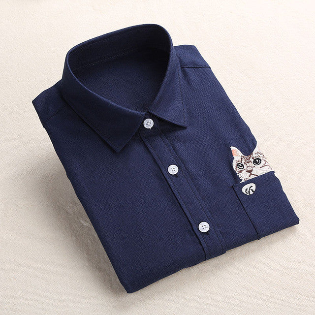 Dioufond Women Spring Shirt Turn-Down Collar Ladies Blouses Long-Sleeve Shirt Female Office Tops Pocket With Cat Embroidery - Jessikas Tops