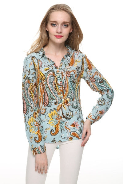 Women plus size Paisley print blouses vintage turn down collar long sleeve office work shirts casual loose tops LT458 - Jessikas Tops