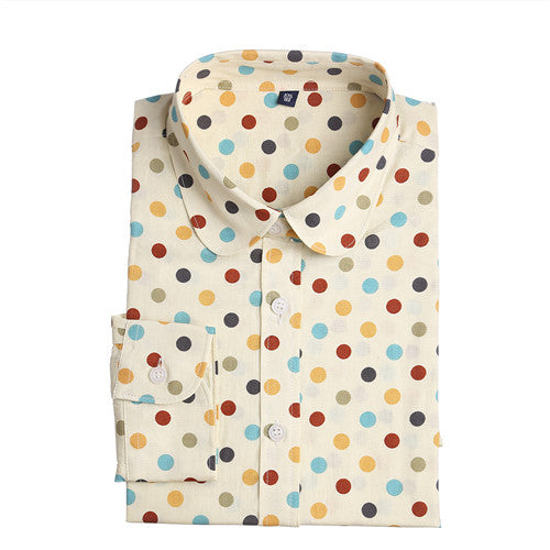 Dioufond 2016 Fashion Polka Dot  Blouse Long Sleeve Shirt Women Blouses Cotton Women Shirts Red Blue Dot Top Blusas Women Tops - Jessikas Tops