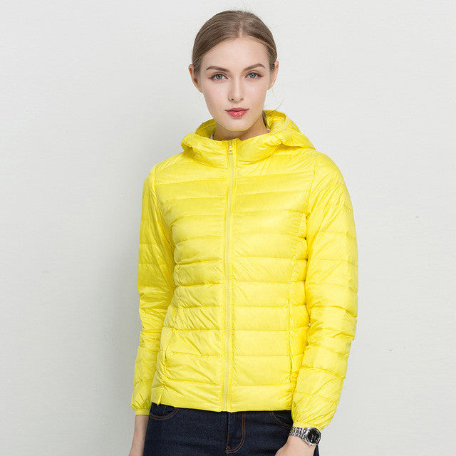 COMLESS 18 Colors Casual Ultralight Down Jacket with 90% Down 10%Feather Women Hoodies Winter White Down Outwear Jacket SizeXXXL - Jessikas Tops