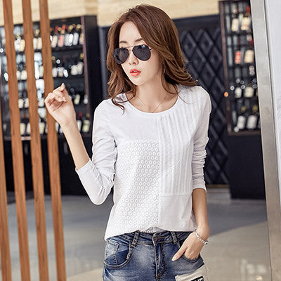 Chemise Femme Cotton Women Blouses 2017 Womens Tops Embroidery Blouse White Shirt Long Sleeve Patchwork Korean Plus Size Blusa - Jessikas Tops