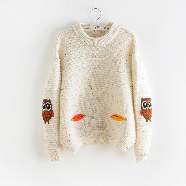 2017 womens fashion winter autumn o-neck collar new owl character with