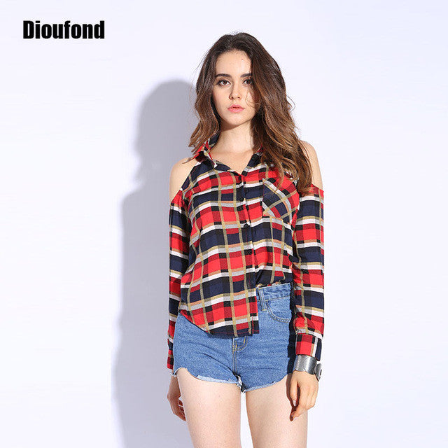 Dioufond Spring Red Plaid Off Shoulder Tops Shirts For Women Long