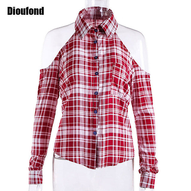 Dioufond Spring Red Plaid Off Shoulder Tops Shirts For Women Long Sleeve Blouse Sexy Blouses V Neck Women Tops Blusas Femininas - Jessikas Tops