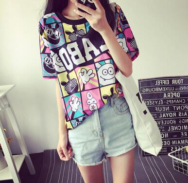 Camisetas Crop Top 2017 Summer Style Women T-shirt Unique Printed Tees Basic Short-sleeve Harajuku Bottoming Tops Free Shipping - Jessikas Tops