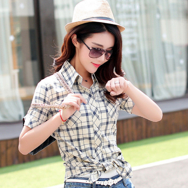 Brand New 2017 Summer Style Plaid Print Short Sleeve Shirts Women Plus Size Blouses Casual 100% Cotton Tops Blusas 14 Colors - Jessikas Tops