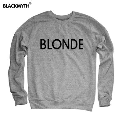 BLONDE Letters Fashion Printing Women Sweatshirt Casual Long sleeve