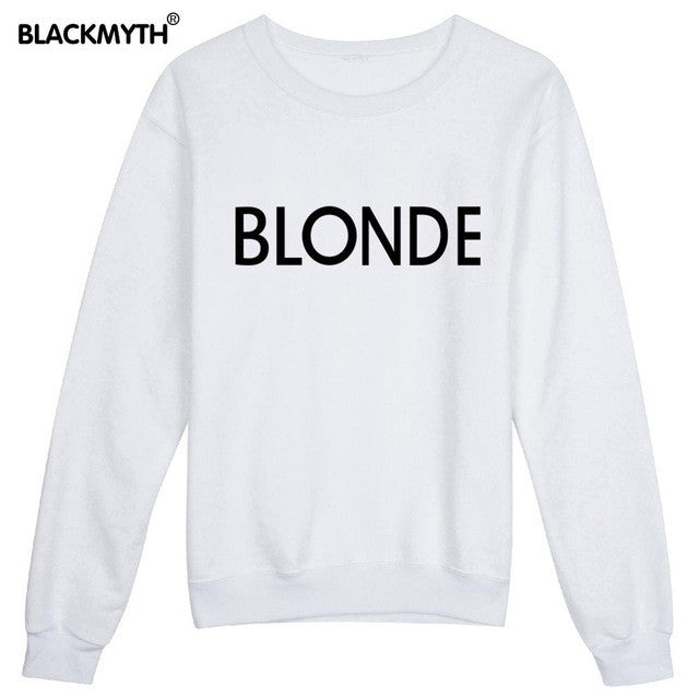 BLONDE Letters Fashion Printing Women Sweatshirt Casual Long sleeve Round Collar Black White Comfortable - Jessikas Tops