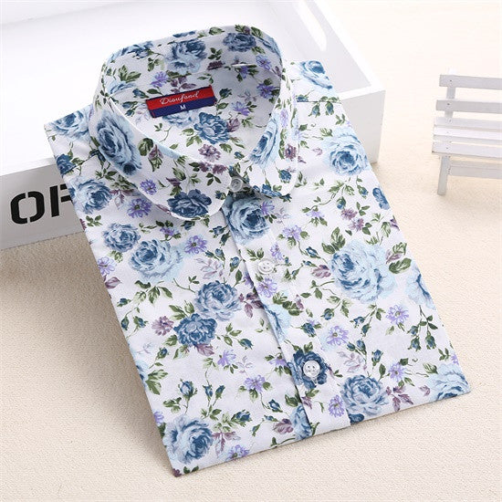 Dioufond Vintage Top Floral Shirts Women Cotton Linen Blouses Elegant Ladies Tops Long Sleeve Shirt Casual Blusas Women Clothing - Jessikas Tops