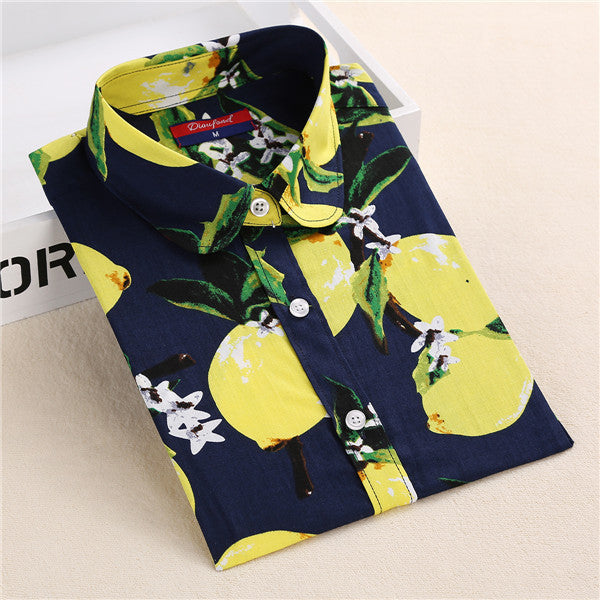 Dioufond Summer Floral Blouse Shirt Women Long Sleeve Tops Cotton Shirts White Navy Blouses Small Flower Blusas Femininas 2016 - Jessikas Tops