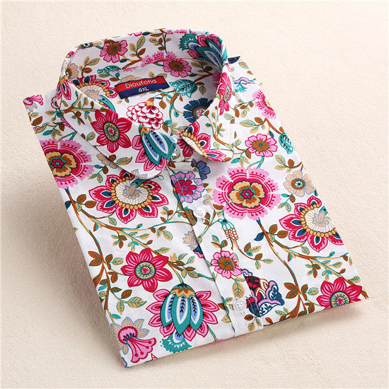 Dioufond Summer Floral Blouse Shirt Women Long Sleeve Tops Cotton