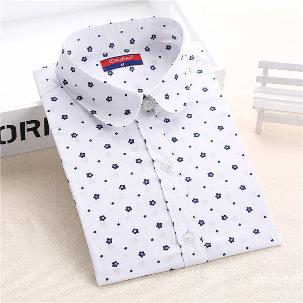 Dioufond Floral Women Blouses Polka Dot  Blouse Long Sleeve Shirt Women Cotton Camisas Femininas Blusa Feminina Ladies Tops - Jessikas Tops