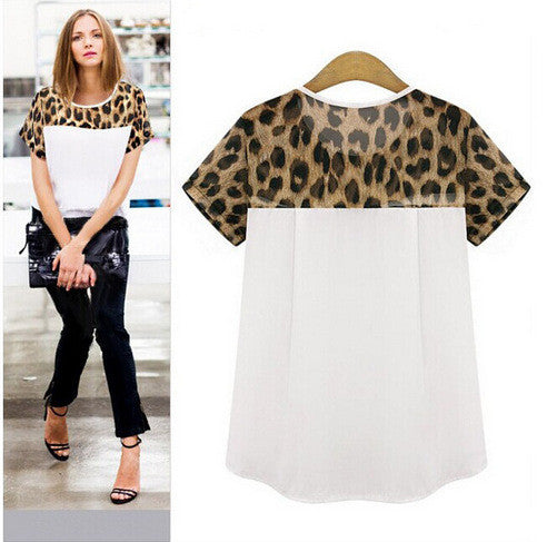 Woman blouses Summer Chiffon clothing Leopard Print Patchwork Top Feminina Round Neck Short Sleeve Casual Clothing Blusas S-2XL - Jessikas Tops