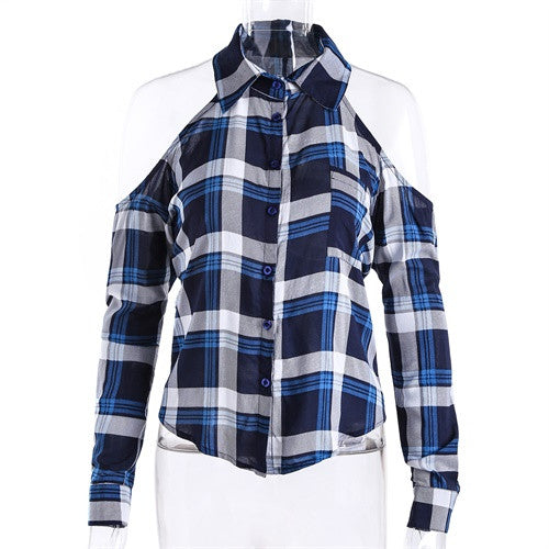 Plaid Blouse Cold Shoulder Women's Sexy Checked Shirts Red Checkered Chemise Femme Long Sleeve Ladies Tops Cage Shirt Women 2017 - Jessikas Tops