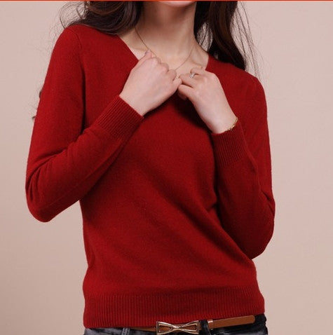 Cashmere Wool Blend Sweater Female V-neck Pullover Sweater Short Design Slim Solid Color Sweater Basic Free Shipping - Jessikas Tops