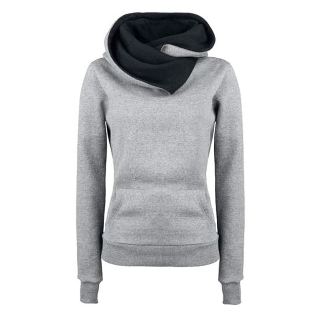 2017 Women Pullover Casual Solid Hoodies Turn-down Collar