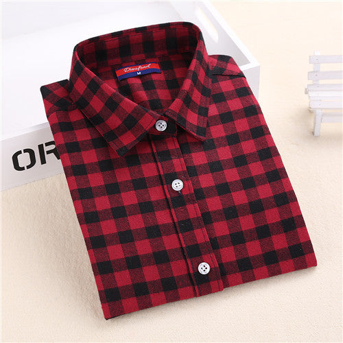 Brand Winter Blouse Plaid Shirt Women Chemisier Femme Long Sleeve Womens Flannel Shirts  Women Tops and Blouses 2015 New Fashion - Jessikas Tops