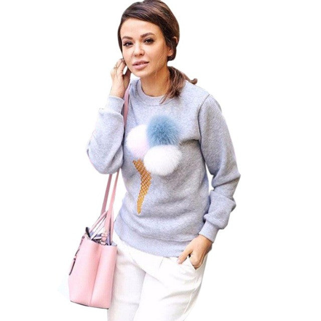 COCKCON Women Colorful Plush Ball Long Sleeve Sweatshirt Casual Tracksuit Ladies Truien Dames Female Hoodies Tops Kawaii Outwear - Jessikas Tops