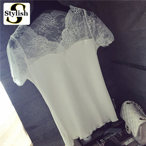 Womens Summer Style Tops For Women Clothes 2017 New Fashion Short Sleeve Shirts V-neck Lace Patchwork Knit Blouse Shirt 2016 - Jessikas Tops