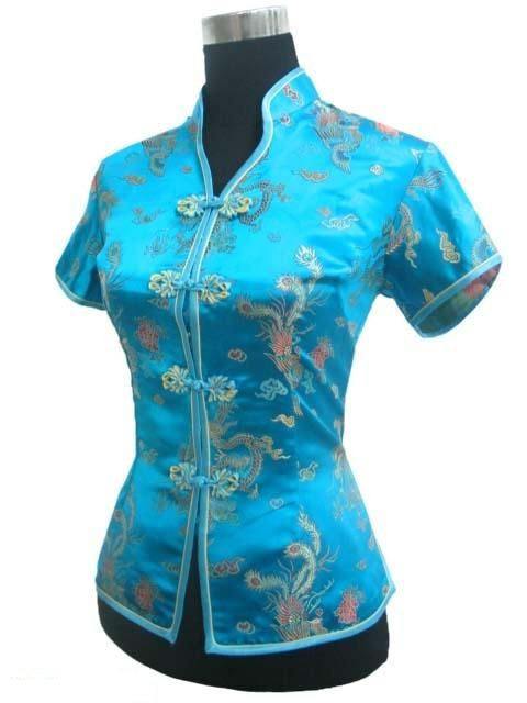 New Arrival Light Blue Female V-Neck Shirt top Chinese Classic Ladies Satin Blouse Size S M L XL XXL XXXL Mujer Camisa JY044-4 - Jessikas Tops