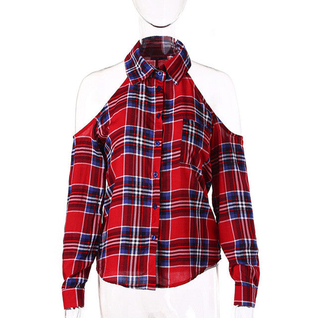 Dioufond Cold Shoulder Women Shirts 2017 Spring Style Shirt Long Sleeve Ladies Tops Plaid Red Blouse Women Lapel Fashion Blouses - Jessikas Tops