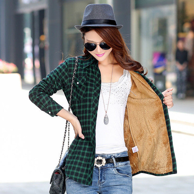 Brand Casual Jacket Women 2016 New Winter Warm Plaid Shirt Style