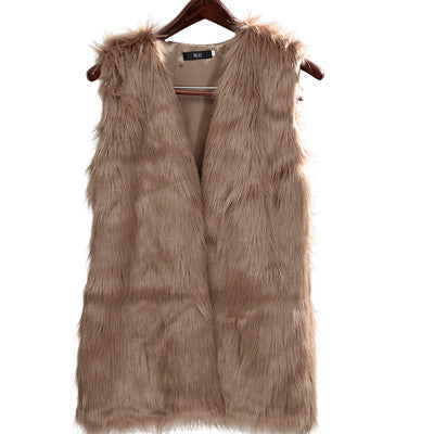 f443f8a8202 GOPLUS Women Brown Plus Size Faux Fur Vest Slim long fuax fur Coat women  XXL Gilet