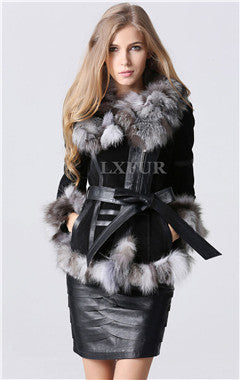 Classical Lady Genuine Leather Coat with Fox Fur Trim Collar Winter Warm Leather Overcoat Long Coat with Belt LX00188 - Jessikas Tops