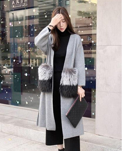 [CHICEVER] 2017 winter attachable big fur pockets long cardigan nitted fashion windbreaker trench coat for women new - Jessikas Tops