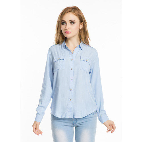 Brand Summer Women Tops And Blouses 2016 New Fashion XXL Plus SizeTurn-down Collar Casual Solid Blouse Camiseta Mujer Four Color - Jessikas Tops