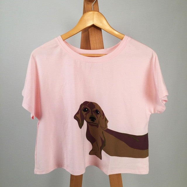 Cute T shirt Women Add Pink Summer 2016 Loose Tops Dachshund Print Short Sleeve Plus Size Cotton T shirt blusas femininas T6651 - Jessikas Tops