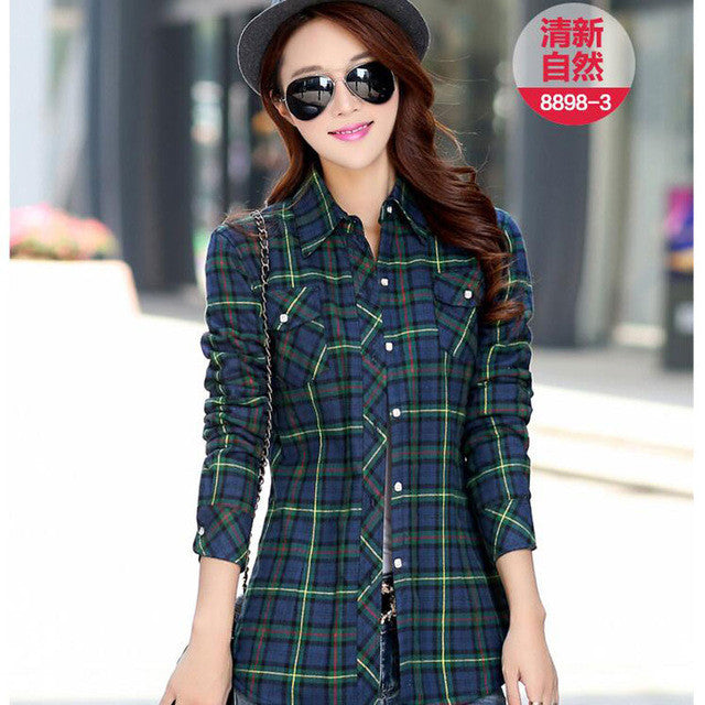 New Camisa Cuadros Mujer Casual Plaid Shirt Women Turn-down Collar Woman Shirts With Long Sleeve Thicken Blusas Y Camisas Mujer - Jessikas Tops
