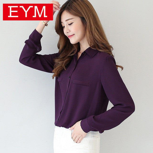 Brand Women Blouse 2016 New Casual Women's Long Sleeved Solid Shirt
