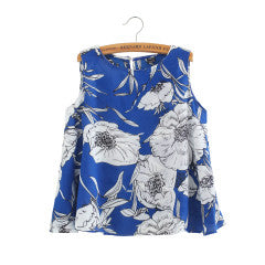 Women floral print Vest crop blouses pink blue camisas femininas O neck sleeveless loose shirts casual tops ST2273 - Jessikas Tops