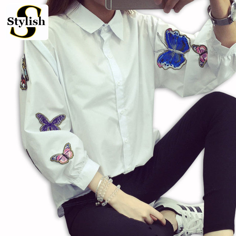 White Blouse New 2017 Spring Summer Long Sleeve Butterfly Embroidery Appliques Casual Shirt Women Tops Ladies Clothing - Jessikas Tops