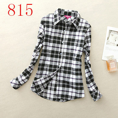 Women's Shirt 2017 Autumn Winter Ladies Female Casual Cotton Lapel Long-Sleeve Plaid Shirt Women Slim Outerwear Blouse Tops - Jessikas Tops