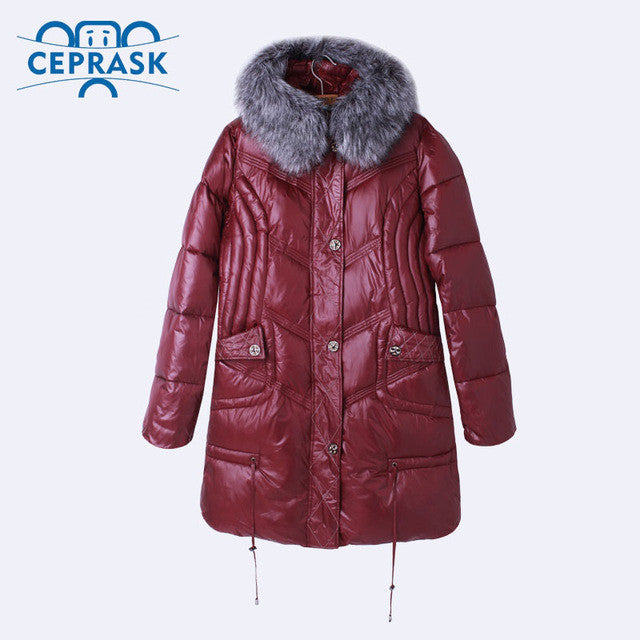 Ceprask 2016 High Quality women's Winter Down Jacket Plus Size X-Long Female Coats Fashion Fur Warm Parka camperas 4XL 5XL 6XL - Jessikas Tops