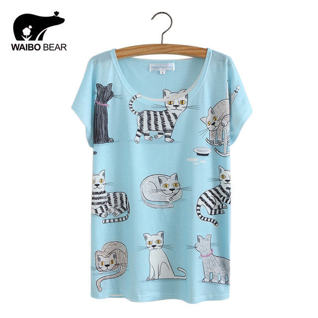 Cat Animal Printed T Shirt Women Tops 2017 Summer Camisetas Mujer Women's T-shirt Femme plus size Casual Tees Shirts - Jessikas Tops