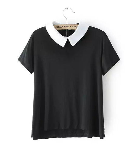Buy new fashion 2015 summer womens elegant peter pan for Black and white short sleeve shirts