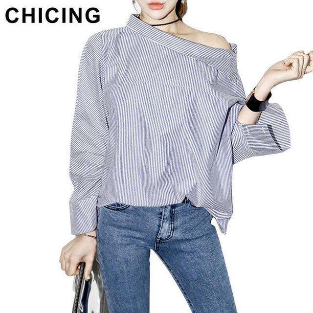 CHICING Sexy Off The Shoulder Blouses 2016 Summer Women Striped Slash Neck Side Buttons Flare Sleeve Casual Shirt Tops B1603026 - Jessikas Tops