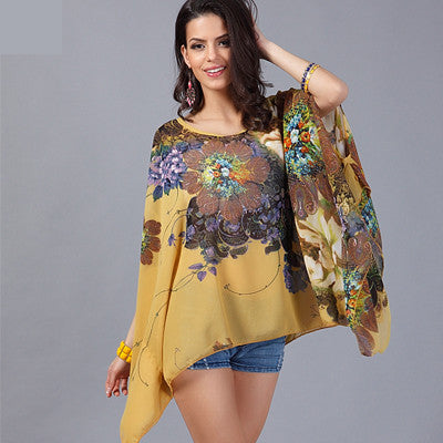 Chiffon Shirts 6XL Plus Size Women 2017 New Style Batwing Floral Print Summer Tops Women's Casual Blouses Blusas Femininas - Jessikas Tops