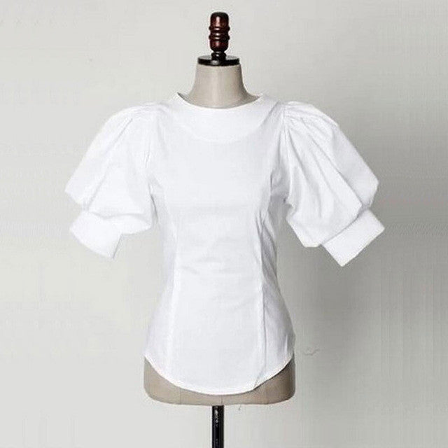 Puff Short Lantern Sleeve Blouse 2017 New Fashion Women Back Buttons O-Neck Tops Female Plus Size Vintage Cotton White Shirt - Jessikas Tops