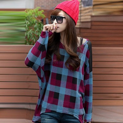 Check Plaid Bat T Shirt Women Long Sleeve Tshirt Loose Cotton Blend Tee Shirt Femme Vintage Woman Tshirt Top Camisetas Mujer 10 - Jessikas Tops