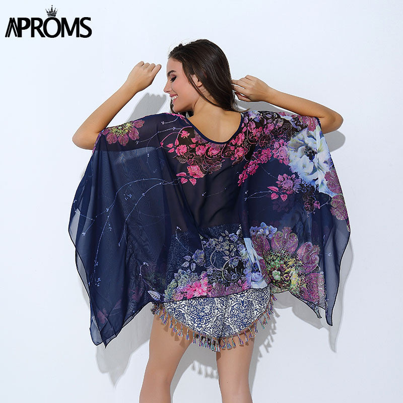 Boho Batwing Sleeve Chiffon Blouse Women Casual Floral Print Loose
