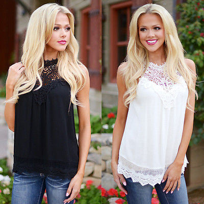 New Fashion Women Ladies Vest Sleeveless Shirt Camis Summer Casual Loose Lace Tops - Jessikas Tops
