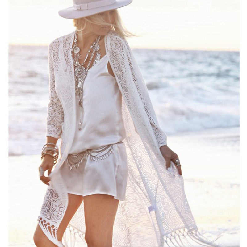 Boho Women Fringe Lace kimono cardigan White Tassels Beach Cover Up Cape Tops Blouses damen bluze - Jessikas Tops
