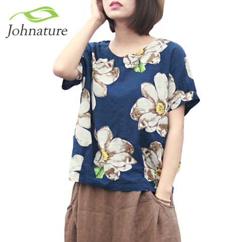 Johnature 2017 Summer New Women Print Flower Round Neck Cotton Linen Short Sleeve T-Shirt Loose Vintage Girl Top - Jessikas Tops