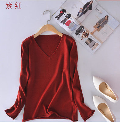 Cashmere Sweater fashion female spring New V-neck Sweater short paragraph bottoming knitting cultivating wild Pullover Wool - Jessikas Tops
