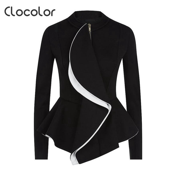 Clocolor women jacket coat l2017 spring Black Tops girls O Neck  zipper work wear Long Sleeve peplum Women jacket - Jessikas Tops